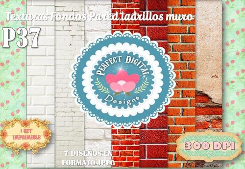 kit imprimible fondos textura ladrillos pared p/ estampados