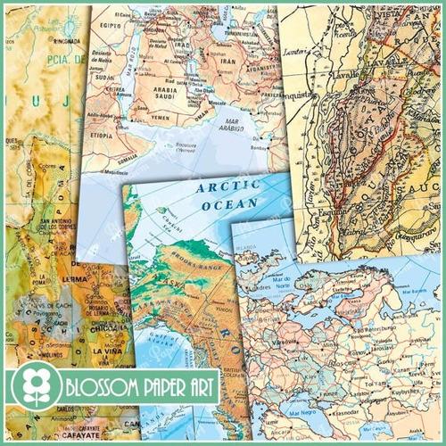kit imprimible fondos vintage mapas clipart