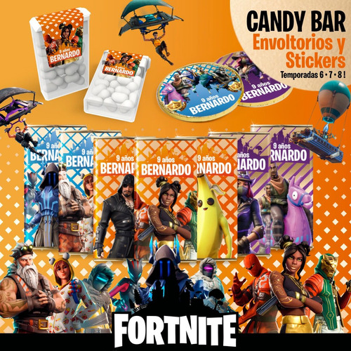 kit imprimible fortnite   candy bar   deco   cumple