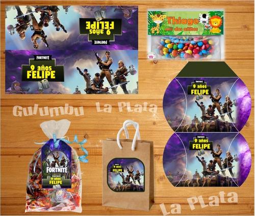kit imprimible fortnite juegos tarjetas candy bar editables