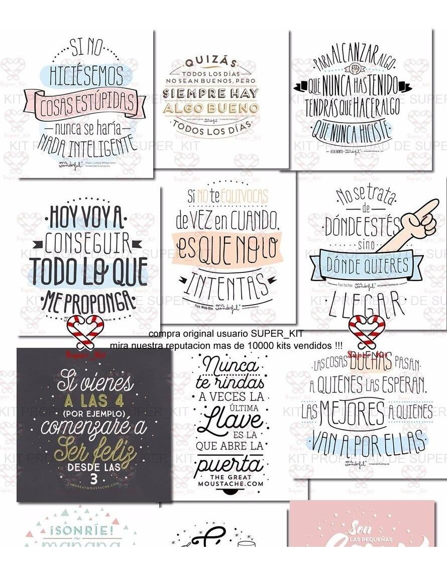Kit Imprimible Frases Laminas Cuadritos Calendario 2018