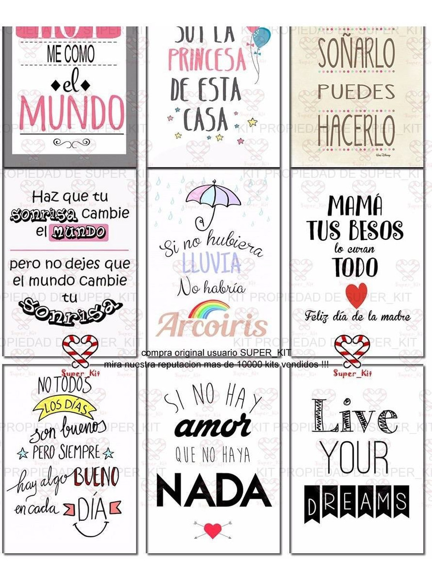 Kit Imprimible Frases Laminas Cuadritos Calendario 2019 2x1