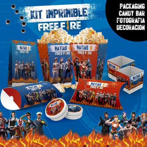 kit imprimible free fire | candy bar | deco | cumple