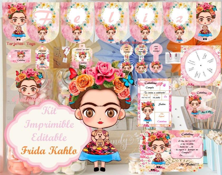 Imagenes De Frida Kahlo Para Imprimir: Kit Imprimible Frida Kahlo Niña Decoración Invitación S01