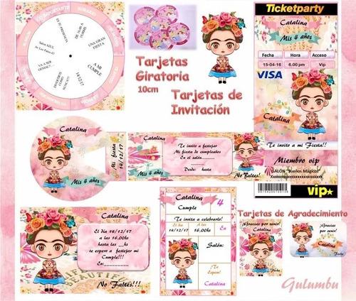 kit imprimible frida kahlo niña invitaciones editable candy