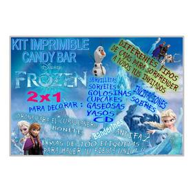 Kit Imprimible Frozen Candy Cajas Pizarra Deco Y Mas 2x1