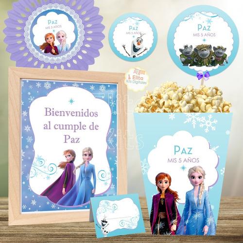 kit imprimible frozen cumpleaños nenas decoración candy bar