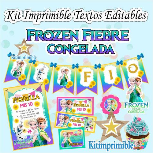 kit imprimible frozen fever party candy bar textos editables