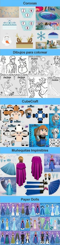 kit imprimible frozen full fiesta 3x1