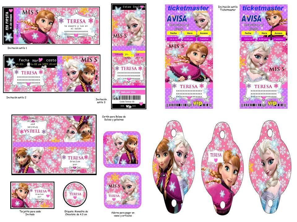 Kit imprimible frozen oferta 2x1 tarjeta decoracion fiesta - Adornos para fotos gratis ...