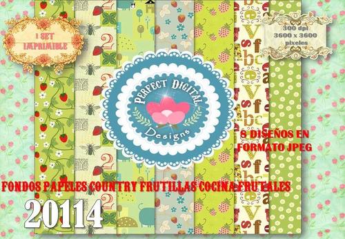 kit imprimible frutillas country cocina p/ decoracion scrap