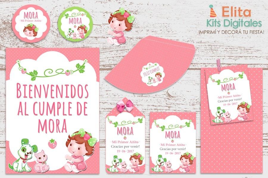kit imprimible frutillita beb decoracin cumpleaos nena
