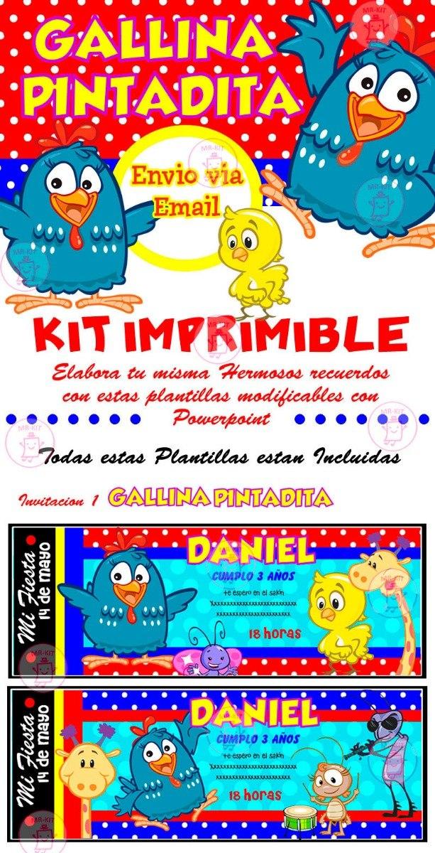 Kit Imprimible Gallina Pintadita Diseña Tarjetas Invitacion