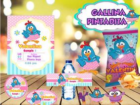 Kit Imprimible Gallina Pintadita Invitaciones Tipo Sabritas