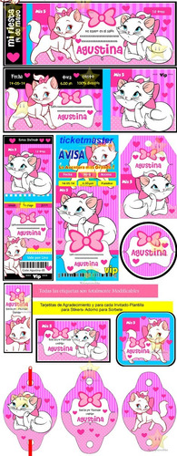 kit imprimible gatita marie diseñá tarjetas, cumples y mas