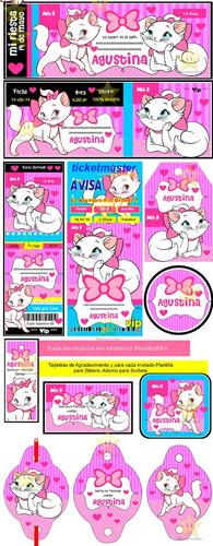 kit imprimible gatita marie diseñá tarjetas cumples y mas