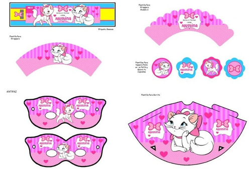 kit imprimible gatita marie para decorar fiesta