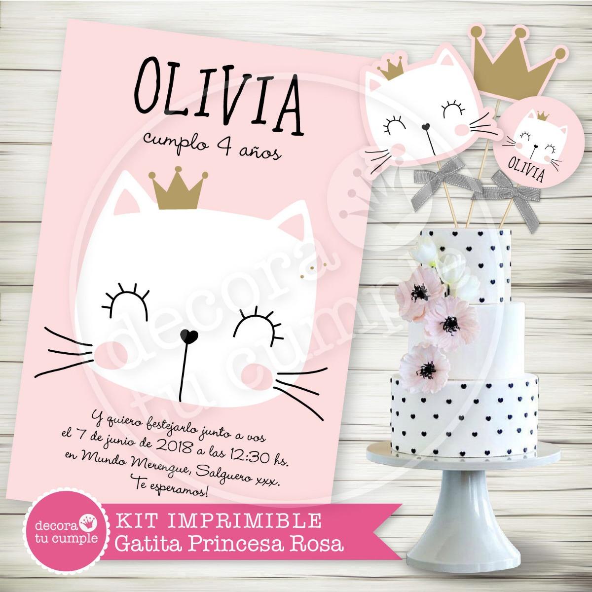 Kit Imprimible Gatita Princesa Candybar Invitación Fiesta - $ 345,02 ...