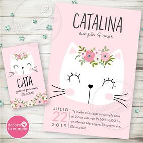 Kit Imprimible Gatita Romantica Flores Rosa Invitación Candy