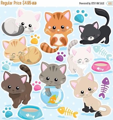 kit imprimible gatitos gatos imagenes clipart cod4