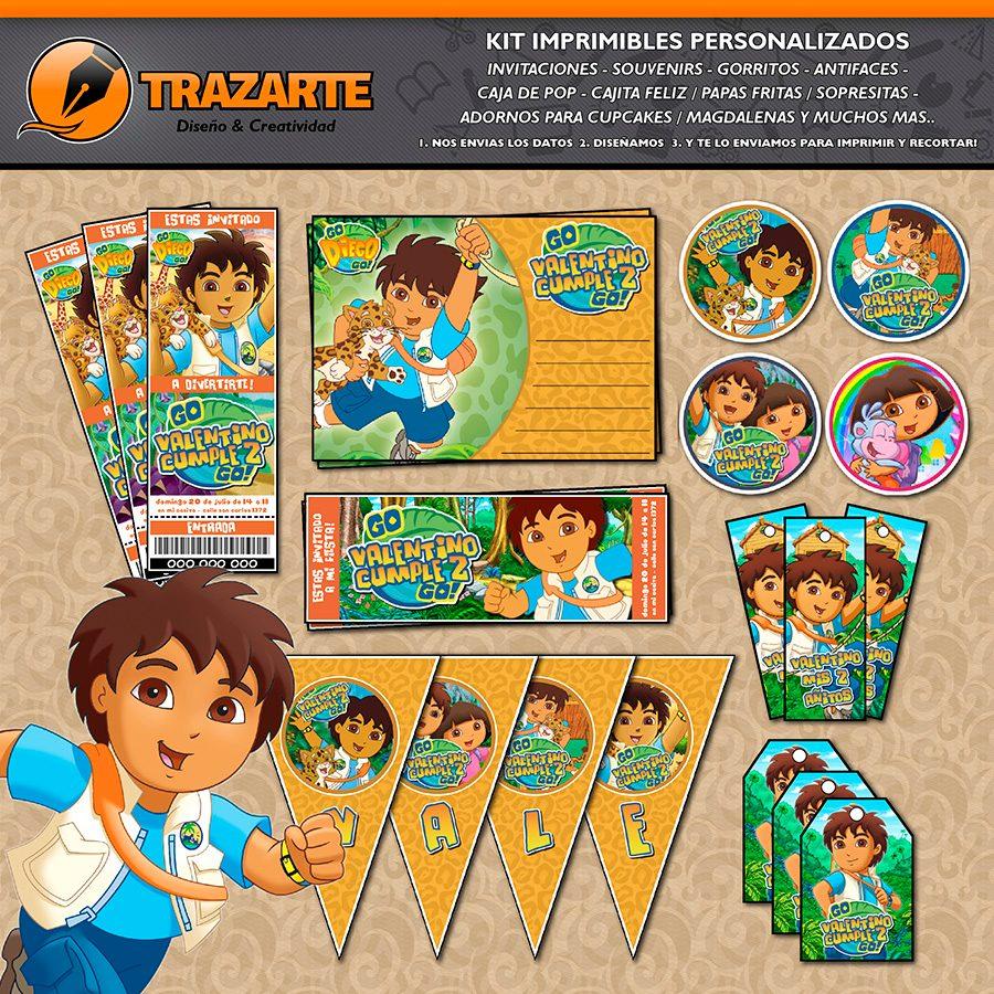 Kit Imprimible Go Diego Go Personalizado Cumpleaños Can Dora - $ 500 ...