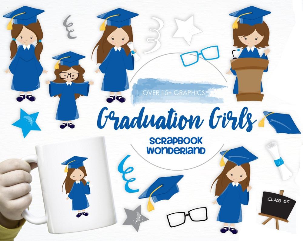 Kit Imprimible Graduacion Niñas Imagenes Toga Birrete