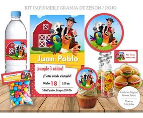 Kit Imprimible Granja De Zenon Rojo Invitación Granja