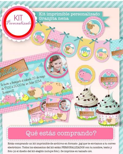 kit imprimible granja nena golosinas candybar cumpleaños