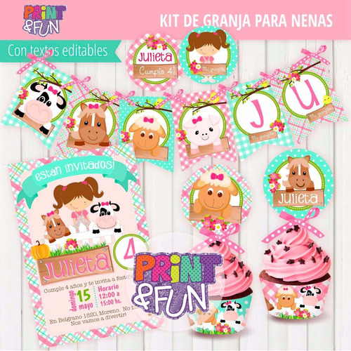 kit imprimible granja nenas animales editable completo 1 año