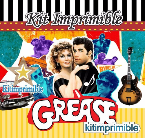kit imprimible grease candy bar  y mas