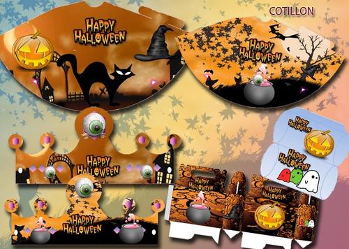 kit imprimible halloween candy bar mascaras decoracion