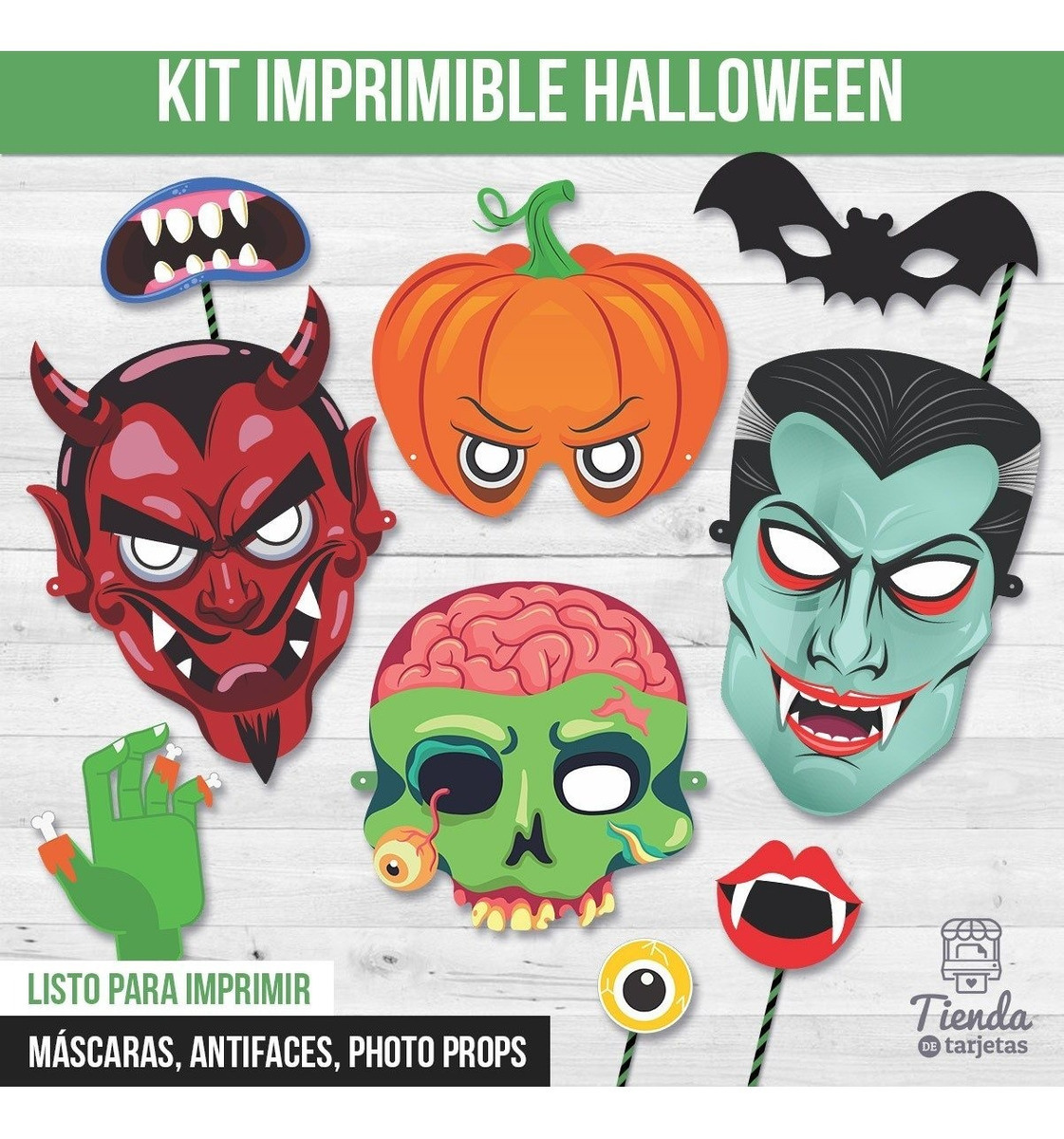 Kit Imprimible Halloween Noche Brujas Mascaras Photo Booth 300