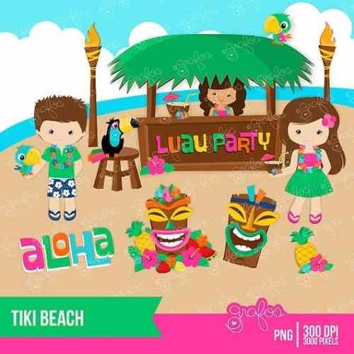 kit imprimible hawaii 2 imagenes clipart