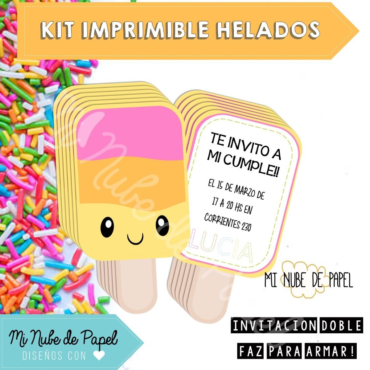 Kit Imprimible Helados Verano Kawaii Cumpleanos Candy Bar 200