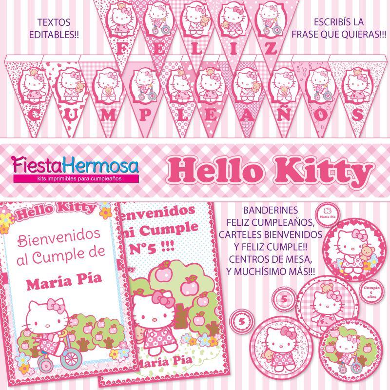 Kit Imprimible Hello Kitty Decoraciones Candy Bar Cajitas