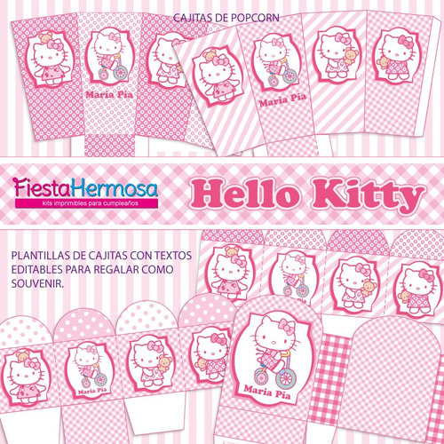 kit imprimible hello kitty, decoraciones, candy bar, cajitas
