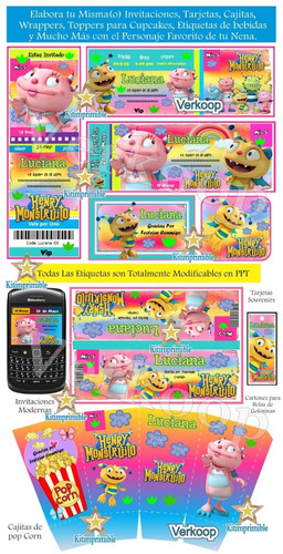 kit imprimible henry monstruito + candy bar fiesta completa