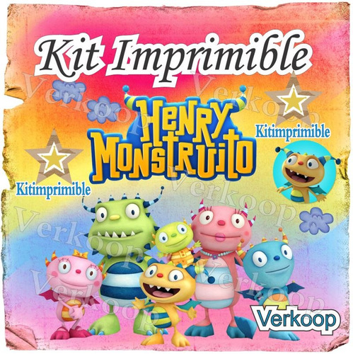 kit imprimible henry monstruito + candy bar fiesta snoopy