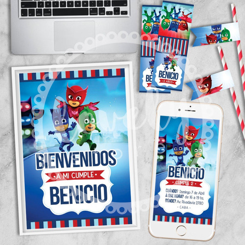 kit imprimible heroes. cumpleaños + deco + candy bar