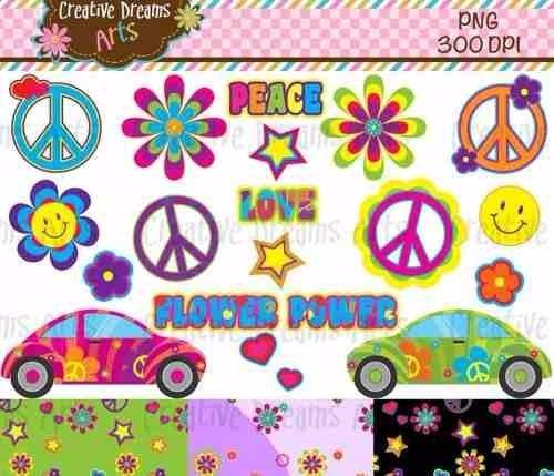 kit imprimible hippie amor y paz 2 imagenes clipart