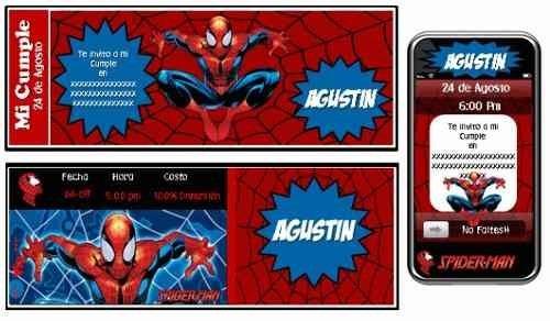 kit imprimible hombre araña: invitaciones, candy bar, deco
