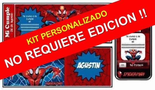 kit imprimible hombre araña spiderman 100% personalizado