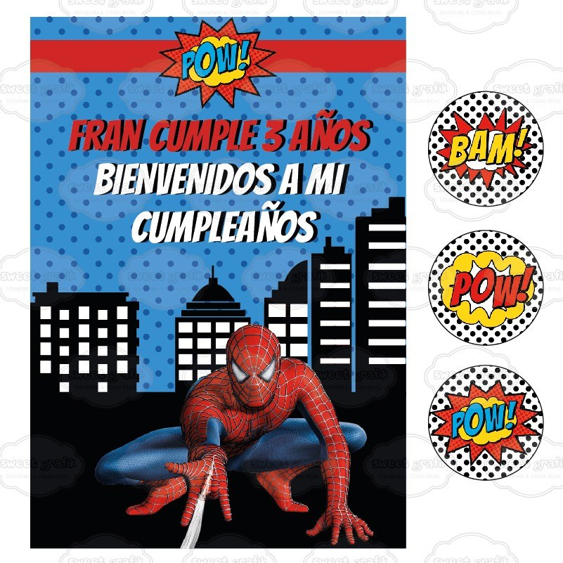 kit imprimible hombre araa spiderman cumpleaos candy bar
