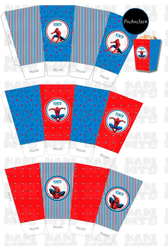 kit imprimible hombre araña spiderman invitaciones candy bar