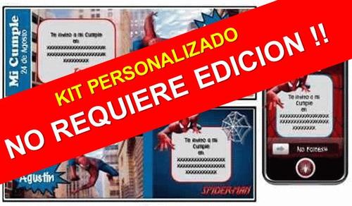 kit imprimible hombre araña spiderman personalizado 100%
