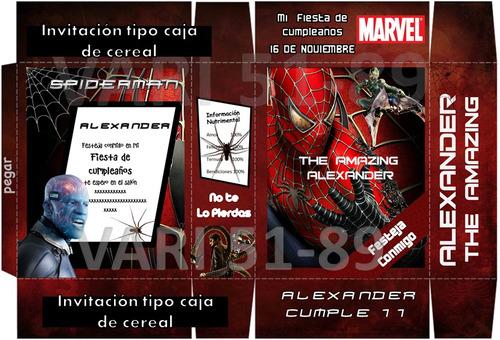kit imprimible hombre araña,tarjeta, invitaciones,diseño