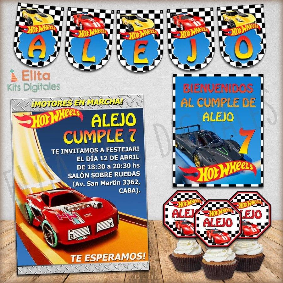 Kit Imprimible Hot Wheels Autitos Cumpleanos Nene Hotwheels 250