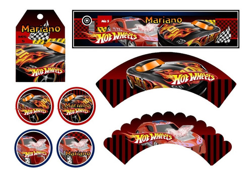 kit imprimible hot wheels candy bar golosinas cumple 2x1
