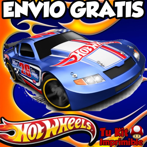 kit imprimible hot wheels diseñá tarjetas, cumples y mas