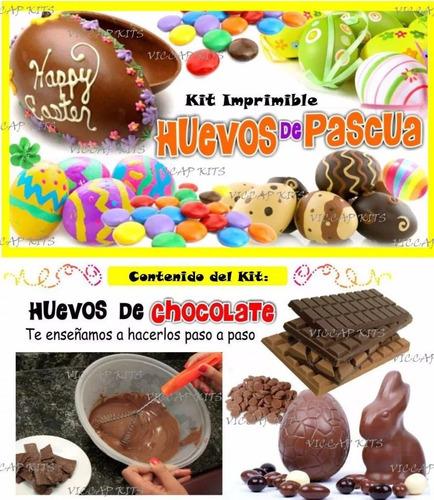 kit imprimible huevos de chocolate decorados wrappers pascua